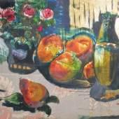 Oskar Schlemmer (Stuttgart 1888 - 1943 Baden-Baden), Stillleben mit Tischdecke, um 1939, Tusche, Öl- und Lackfarben auf und hinter Glas. Mit einem Stück gemustertem Damast und Silberfolie hinterlegt, 17,5 x 23 cm bei Zibelius Fine Art, Hannover.