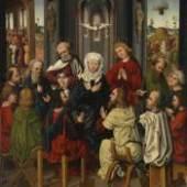 Pfingstwunder, Sebald Bopp (Zuschreibung), (vor 1474 Bamberg - 1503 Nördlingen), um 1490. Öl auf Holz, 110 x 96 cm, Kunsthandel Senger Bamberg