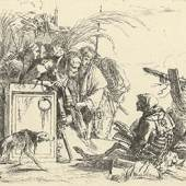 Giovanni Battista Tiepolo (1696 - 1770), Der Tod gibt Audienz, Blatt aus der Folge Vari Capricci, um 1740/41, Radierung, Graphische Sammlung ETH Zürich