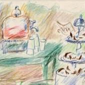 Hanny Fries (1918-2009), Italienische Erfrischungen, Um 1960, Farbstift auf Karton