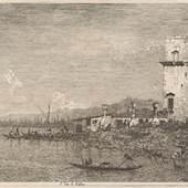 Giovanni Antonio Canal, gen. Canaletto (1697 - 1768), La Torre di Malghera, Blatt aus der Folge Vedute altre prese da i luoghi altre ideate, 1741–1746, Radierung, Graphische Sammlung ETH Zürich