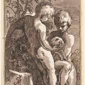 Anton Maria Zanetti (1680–1767), nach Francesco Parmigianino (1503 - 1540), Zwei Kinder mit einem Lamm (Christus und Johannes), 1725, Chiaroscuroschnitt von zwei Platten, Graphische Sammlung ETH Zürich