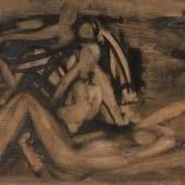 Ackermann, Max: Abstrakte Figurenkomposition. Öl/Holz, unsigniert. In schwarzen Konturen gemalte Figuren, die scheinbar nackt lagernd oder sitzend in einer nicht näher definierbaren Landschaft positioniert sind. Altersspuren, verschmutzt. 44 x 75 cm, Passepartout mit Goldstuckrahmen 66 x 95 cm. Deutscher Maler (1887 Berlin - 1975 Unterlengenhardt), studierte in Weimar bei van de Velde, später in Stuttgart Schüler Adolf Hölzels. Bis 1950 laufen gegenständliche und abstrakte Bildmotive parallel, danach malt er ausschließlich gegenstandslos. Anbei Bestätigung von Renate Ackermann. Provenienz: Aus dem Besitz des Bruders Otto Ackermann und des Neffen Heinz Ackermann. ABB.B 427