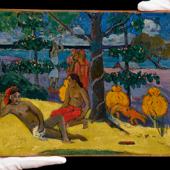 Paul Gauguin, Te Arii Vahine-La Femme aux mangos (II), oil on canvas £8.4m (est: £7-10m), 26.2 by 32.7cm.; 103/8 by 127/8in.