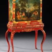 A German Rococo Painted and Lacquered Cabinet on Stand Circa 1750 Height : 146 cm  Width (max.) 92 cm  Depth (max.) 42 cm   Pelham Galleries