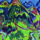 Albert Müller Grosse Berglandschaft (Davoser Landschaft) 1925 Oel auf Leinwand 110x100cm
