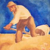 """Albin Egger-Lienz (1868-1926) """"Zwei Schnitter"""" Aquarell auf Papier auf Karton, signiert, um 1921/1923,  67 x 56,5 cm Foto: © Kunsthandel Freller"""