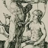 Albrecht Dürer (1471 -1528) Apollo und Diana originaler Kupferstich von 1504 Meder 64 c von d, klarer Druck an den Plattenrand geschnitten, 11,4 x 7,1 cm Kössl Kunst & Teppich