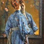 Alfred Stevens, Die japanische Pariserin, 1872, Öl auf Leinwand, 150 x 105 cm, Musée des Beaux-Arts de La Boverie, Liège © Liège, Musée des Beaux-Arts – La Boverie