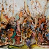 Ali Banisadr, In Medias Res, oil on canvas, 2015 (est. $200,000-300,000)