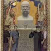 Allegorie auf das 1907 erlassene allgemeine, gleiche und direkte Männerwahlrecht Lithografie nach einer Vor- lage von Erwin Puchinger 1908