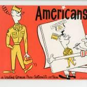 "Bildtitel: Americans… As leading German Press Cartoonists see them"". Copyright: docu center ramstein (dcr)"