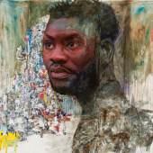 Amoako Boafo, Untitled (Self Portrait), 2017, mixed media on canvas, 200 x 210 cm, Foto © Sascha Herrmann