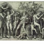 Andrea Mantegna (1431-1506): Bacchanal vor der Weinkufe, um 1470, Berlin, Staatliche Museen, Kupferstichkabinett