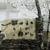 Andrea Mastrovito, Conosci te stesso, 2014 acrilico e collage su carta intelata cm 150x200 Courtesy: Galleria Giuseppe Pero, Milano