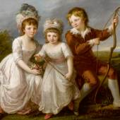 Angelica Kauffmann, R.A. Coira 1741 - 1807 Rome Portrait Of Lady Georgiana Spencer, Henrietta Spencer And George Viscount Althorp oil on canvas 44¾ by 57 in.; 113.6 by 144.8 cm. Estimate $600/800,000