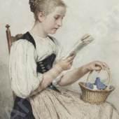 """Albert Anker (1831 – 1910) """"Lesendes Mädchen, mit Korb und Strickzeug"""". Aquarell über Bleistift, sig. u.r., 34,5x24 cm Schätzpreis: CHF 96'000.-"""