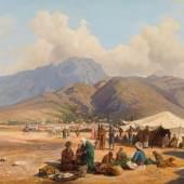 """Anna Lynker, """"Orientalischer Markt"""", 1866,  Öl auf Leinwand, 51 x 75 cm, Neue Galerie Graz, Foto: Auktionshaus im Kinsky GmbH, Wien"""