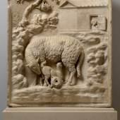 Brunnenrelief Grimani: Mutterschaf mit Lamm (708 KB) Römisch, Ende 1. Jh. v. Chr. Fundort: Palestrina (Italien) Marmor, H. 96 cm, B. 81 cm Wien, KHM, Antikensammlung, Inv.-Nr. I 604 © KHM