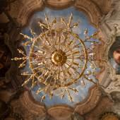 Winterpalais  Detail, Roter Salon mit Deckenfresko von Andrea Lanzani (Figuren) sowie Marcantonio Chiarini (Architekturmalerei)  Foto: Oskar Schmidt, © Belvedere, Wien