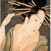 Aus der 1989 in New York versteigerten Sammlung des Münsteraners Theodor Scheiwe stammt dieses um 1795 entstandene Porträt der Kurtisane Shizuka von Chokisai Eisho. Gottfried Ruetz, Experte für japanische Farbholzschnitte aus München, bringt das Werk anlässlich der Kunst- und Antiquitäten-Tage wieder zurück nach Münster.