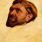 3034 ANTWERPENER MEISTER, UM 1610-15 Kopfstudie eines Mönchs nach oben blickend. Öl auf Holz. 47,5 x 37,7 cm. Schätzpreis auf Anfrage