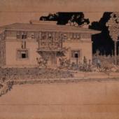 Frank Lloyd Wright. Residenz in Oak Park. 1907. Feder, Pinsel, Tinte auf Papier, 306x570 mm © VG Bild-Kunst, Bonn 2015