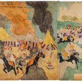 Henry Darger, At Wickey Lansina, escape with their brother… / 81 At Jennie Richee Breaking jail second time, 1930 - 1950. Courtesy of Andrew Edlin Gallery, New York City.