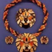 1165- 4 tlg. Art Deco- Ensemble  Loewenkopf , bestehend aus Collier, Brosche und Ohrclips