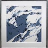 """Gerhard Richter zählt zu den bekanntesten und wichtigsten deutschen Künstlern. Seine Werke erzielen auf Auktionen Höchstpreise. In Münster ist seine Farbserigrafie """"Schweizer Alpen"""" von 1969 zu sehen. / Maße: 95 cm x 95 cm"""