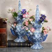 PAIR OF BLUE AND WHITE FLOWER VASES ADRIANUS KOCX Aronson Antiquairs