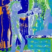 """Alfred Klinkan , aus der Serie Orpheus """"Eintritt in die Liquidität"""", 1985, Farbsiebdruck"""