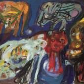 Asger Jorn, Eine CoBrA-Gruppe, 1964, Öl auf Leinwand, 132 x 162 cm, Sammlung Selinka, © Donation Jorn, Sil- keborg / VG Bild-Kunst, Bonn 2019, Foto: Wynrich Zlomke