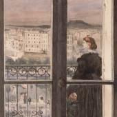 Zacharie Astruc, Dame auf ihrem Balkon, um 1867 Aquarell, 29 x 21 cm, Kunsthalle Bremen Der Kunstverein in Bremen