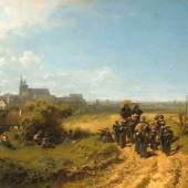 Carl Spitzweg, Der Institutsspaziergang, um 1860  Öl auf Leinwand, 32,1 x 54,1 cm  Bayerische Staatsgemäldesammlungen, Neue Pinakothek, München