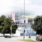 Schaustelle - Eine temporäre Plattform der Pinakothek der Moderne. Tagesperspektive  Visualisierung: J. MAYER H. Architects, 2012. Foto: TUM, LS Städtebau und Regionalplanung, 2011