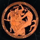 Attisch, Mänade wehrt sich gegen Satyr, um 480 v. Chr., München, Staatliche Antikensammlungen und Glypothek