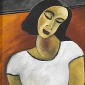 Hildegard Auer Frau mit weißem Pullover Öl auf Leinwand, 1993 60,3 x 50,3 cm (23.7 x 19.8 in
