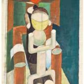 Friedl Dicker-Brandeis Anna Selbdritt, um 1920 Kohle, Öl auf Pergament Universität für angewandte Kunst Wien, Kunstsammlung und Archiv