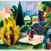 August Macke, Im Schlossgarten von Oberhofen, 1914, Aquarell auf Papier. Kunstmuseum Bern, Legat Cornelius Gurlitt 2014