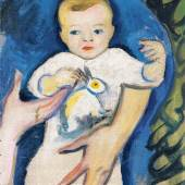 August Macke, Porträt Walter Macke mit Häschen, 1910, Kunsthalle Emden – Dauerleihgabe Gerhard ten Doornkaat Koolm