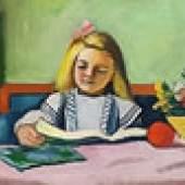 August Mackes 1912 entstandenes Ölge-mälde Blondes Mädchen mit Buch