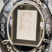 Augustus John portait of Vivien Leigh, reflected in Venetian style oval wall mirror
