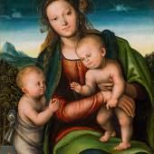 Lucas Cranach (1472 – 1553) Madonna mit Kind und Johannesknaben Öl auf Holz, 76 × 59 cm Schätzpreis: 350 000 – 700 000 €