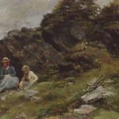 B03 Defregger Almlandschaft mit Frau und Kind 1887 Privatbesitz