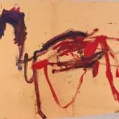 """Martha Jungwirth Das Trojanische Pferd, 2019, Entwurf für den """"Eisernen Vorhang"""", Staatsoper Wien, Öl auf Karton auf Leinwand, 120 x 200 cm, rückseitig signiert und datiert Foto: Galerie Kovacek & Zetter/© Bildrecht, Wien 2020"""