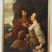 Baen, Jan de (Haarlem 1633 - 1702 Den Haag) attr. Gemälde, Öl auf Leinwand, galantes Paar in Landschaft... Mindestpreis:2.500 EUR