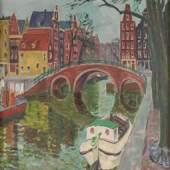 Balwé, Arnold: Amsterdamer Gracht. Öl/Leinwand, rechts unten signiert, verso voll bezeichnet/betitelt, ebenfalls auf Etikett der Galerie Schüller München. Ein Hausboot mit aufgehängter Wäsche und mehrere Lastkähne am Kai der spiegelnden Gracht mit Blick zur Bogenbrücke vor den farbfrohen Häusern. 76 x 100 cm, beiger Rahmen 90 x 114 cm. Vollmer 1/105: Niederländischer Maler (1898 Dresden-1983 Feldwies/Chiemsee), studierte an der Akademie Antwerpen bei Gogo und Obsomer sowie an der Akademie München bei Caspar. Mitglied der Stuttgarter und Münchner Sezession (Neue Gruppe). ABB.B 462