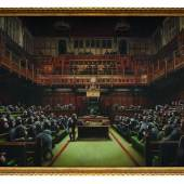 Banksy Goes Bananas: Devolved Parliament of Chimpanzees Sells for £10million
