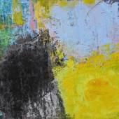 Bild 36: Joanna Klakla, Manuscript of Nature III, Materialdruck, Malerei und Collage auf Papier, 2019, 32&50 cm. Rahmen weiß lasiert mit Passepartout. 600 €
